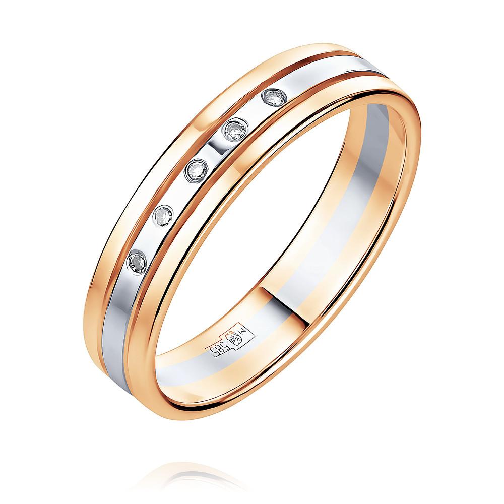 Купить Обручальное кольцо из красного золота 585 пробы с бриллиантом, Другие, Красный, 1238495/01-А501Д-41