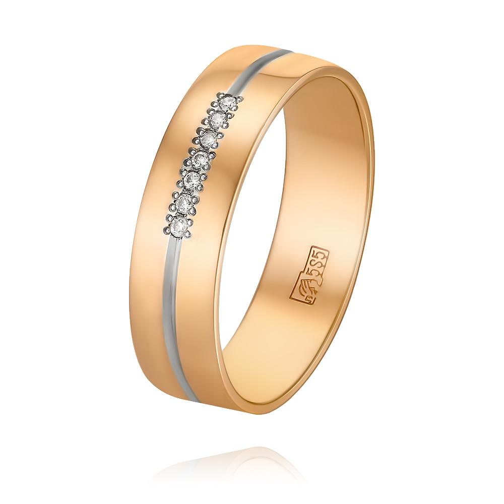 Купить Обручальное кольцо из красного золота 585 пробы с бриллиантом, Другие, Красный, Для женщин, 1241168/01-А50Д-41