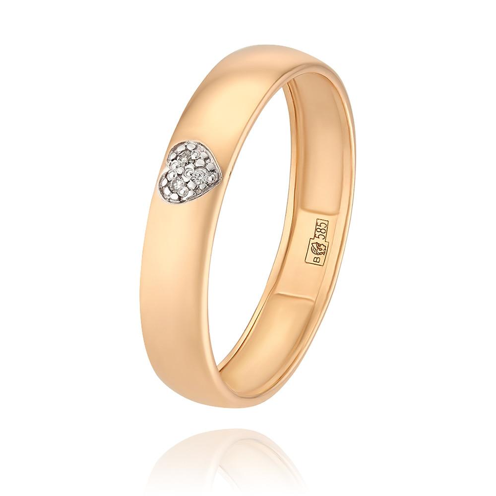 Купить Обручальное кольцо из красного золота 585 пробы с бриллиантом, Другие, Красный, Для женщин, 1247413/01-А50Д-41