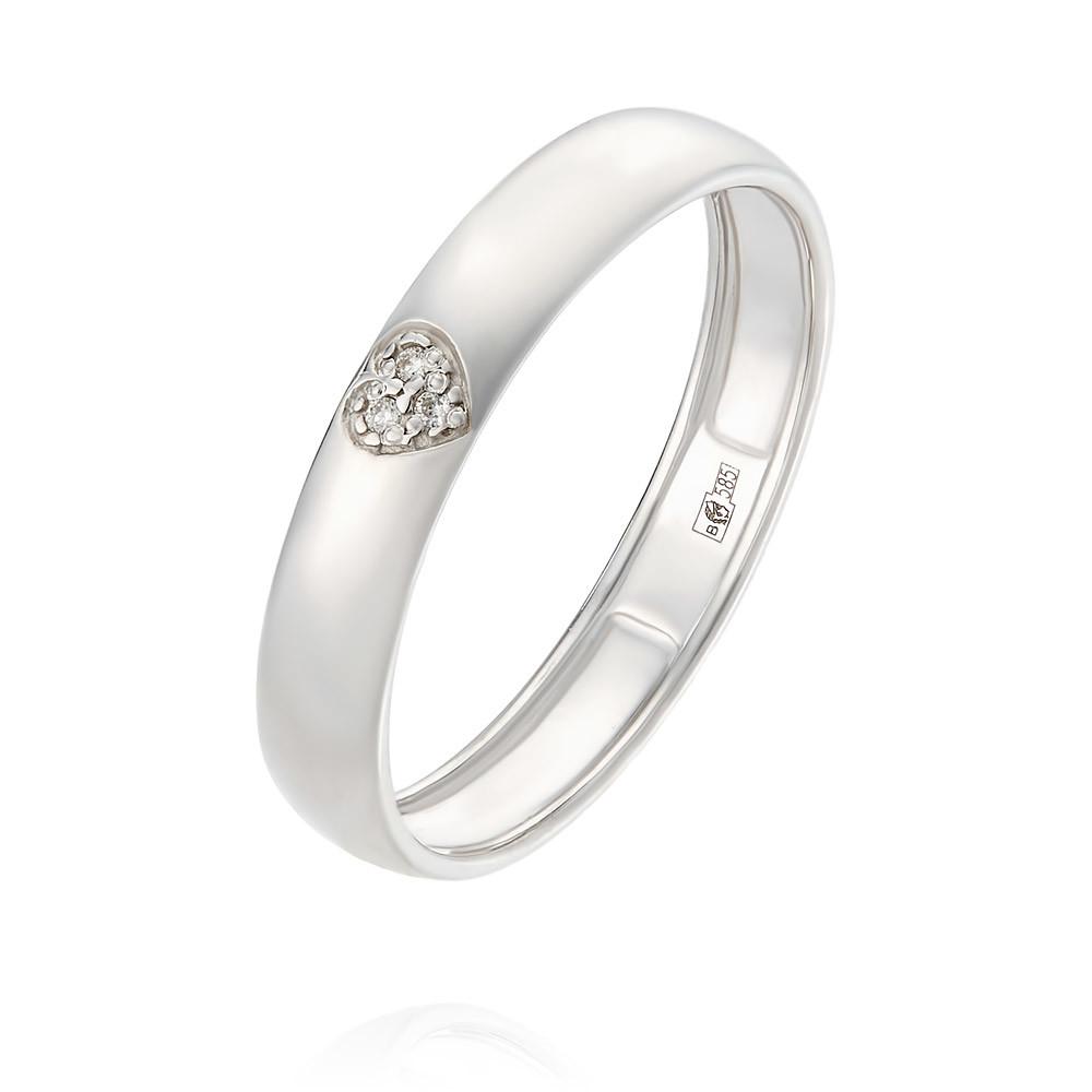 Купить Обручальное кольцо из белого золота 585 пробы с бриллиантом, Другие, Белый, Для женщин, 1247413/01-А511Д-41