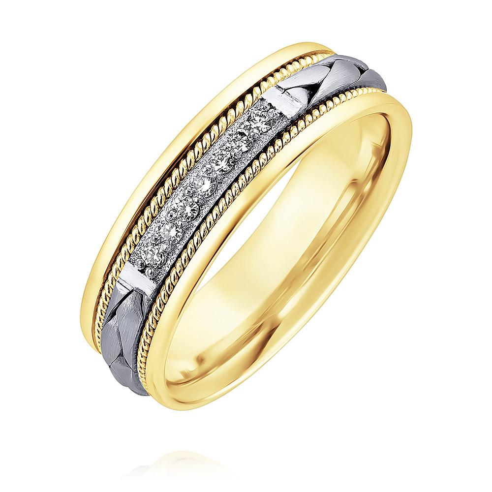 Купить со скидкой Обручальное кольцо из желтого золота 585 пробы с бриллиантом