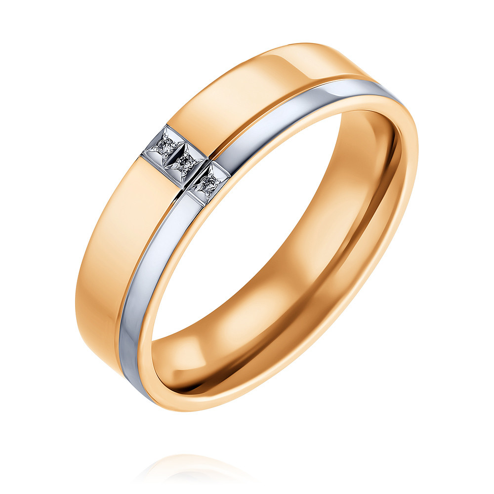 Купить со скидкой Обручальное кольцо из красного золота 585 пробы с бриллиантом
