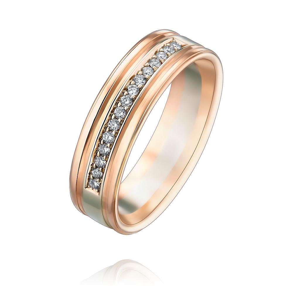 Купить Кольцо из красного золота 585 пробы с бриллиантом, Другие, Красный, 1257431/01-А501Д-41
