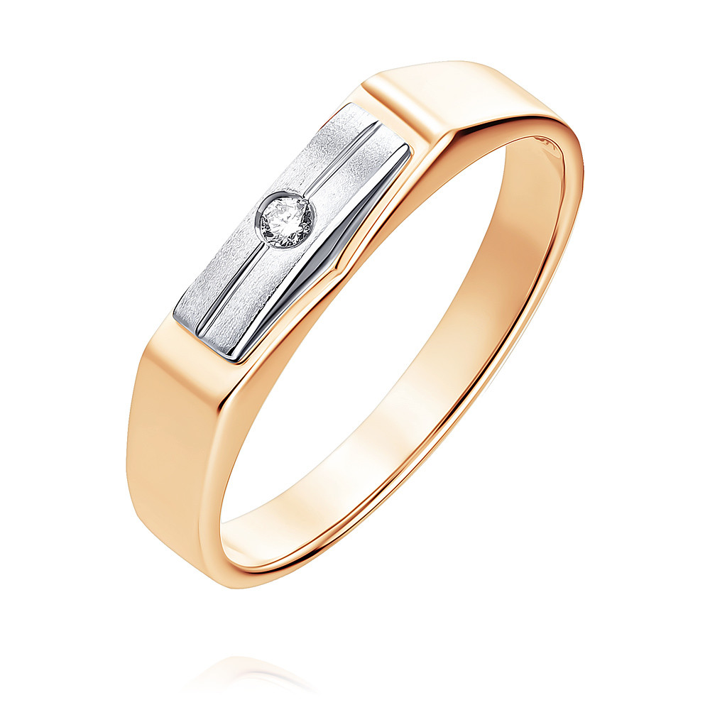 Купить Кольцо из красного золота 585 пробы с бриллиантом, SOKOLOV, Красный, Для мужчин, 1305422/01-А501-41