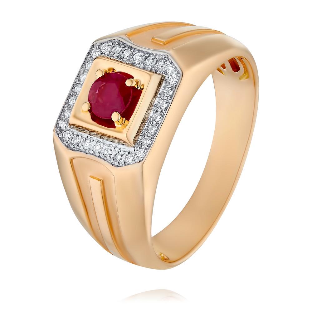 Купить Кольцо из красного золота 585 пробы с бриллиантом, рубином, АДАМАС, Красный, 1316687-А500Д-431