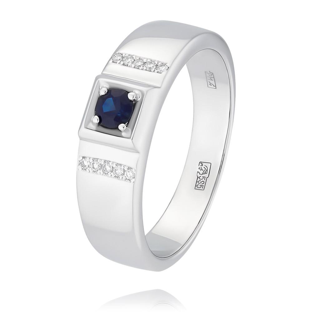 Купить Кольцо из белого золота 585 пробы с бриллиантом, сапфиром, АДАМАС, Белый, 1316688-А51Д-432