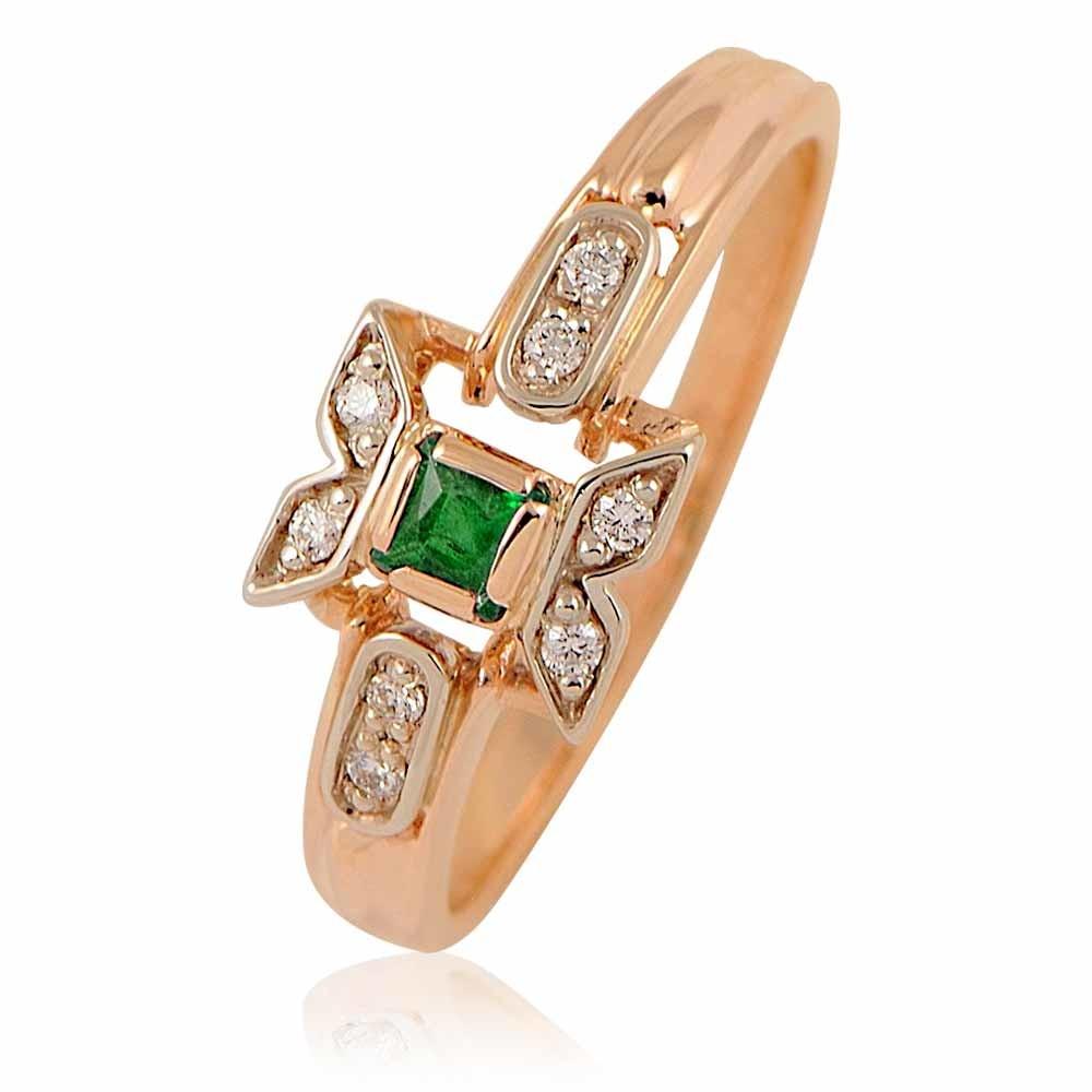Купить Кольцо из красного золота 585 пробы с бриллиантом, изумрудом, АДАМАС, Красный, Для женщин, 1400394-А50-433