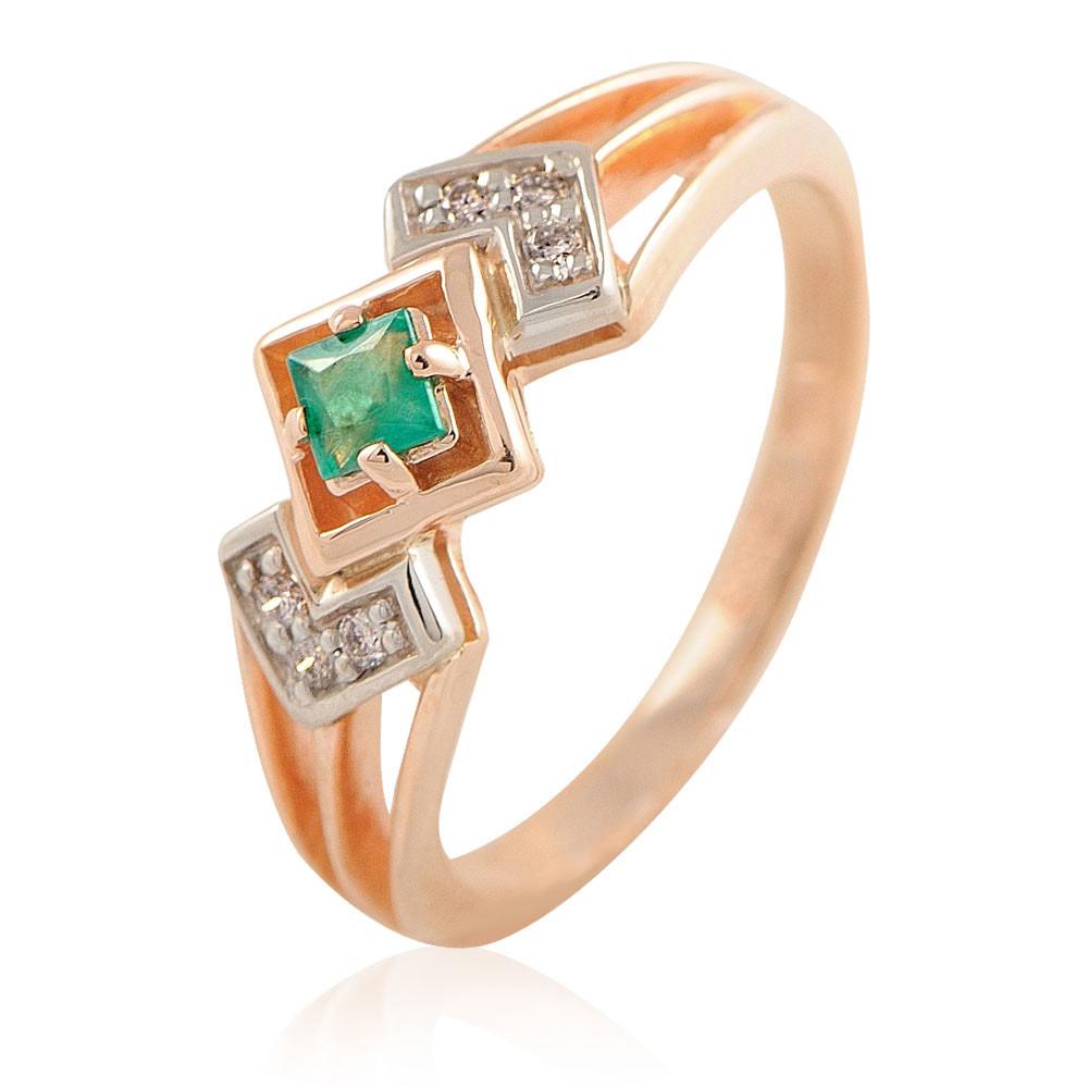 Купить Кольцо из красного золота 585 пробы с бриллиантом, изумрудом, АДАМАС, Красный, Для женщин, 1401189-А50-433