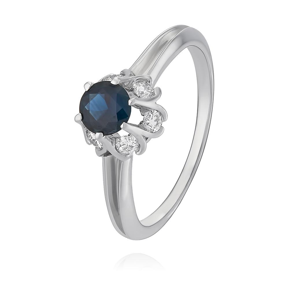 Купить Кольцо из белого золота 585 пробы с бриллиантом, сапфиром, АДАМАС, Белый, 1401242-А51Д-432