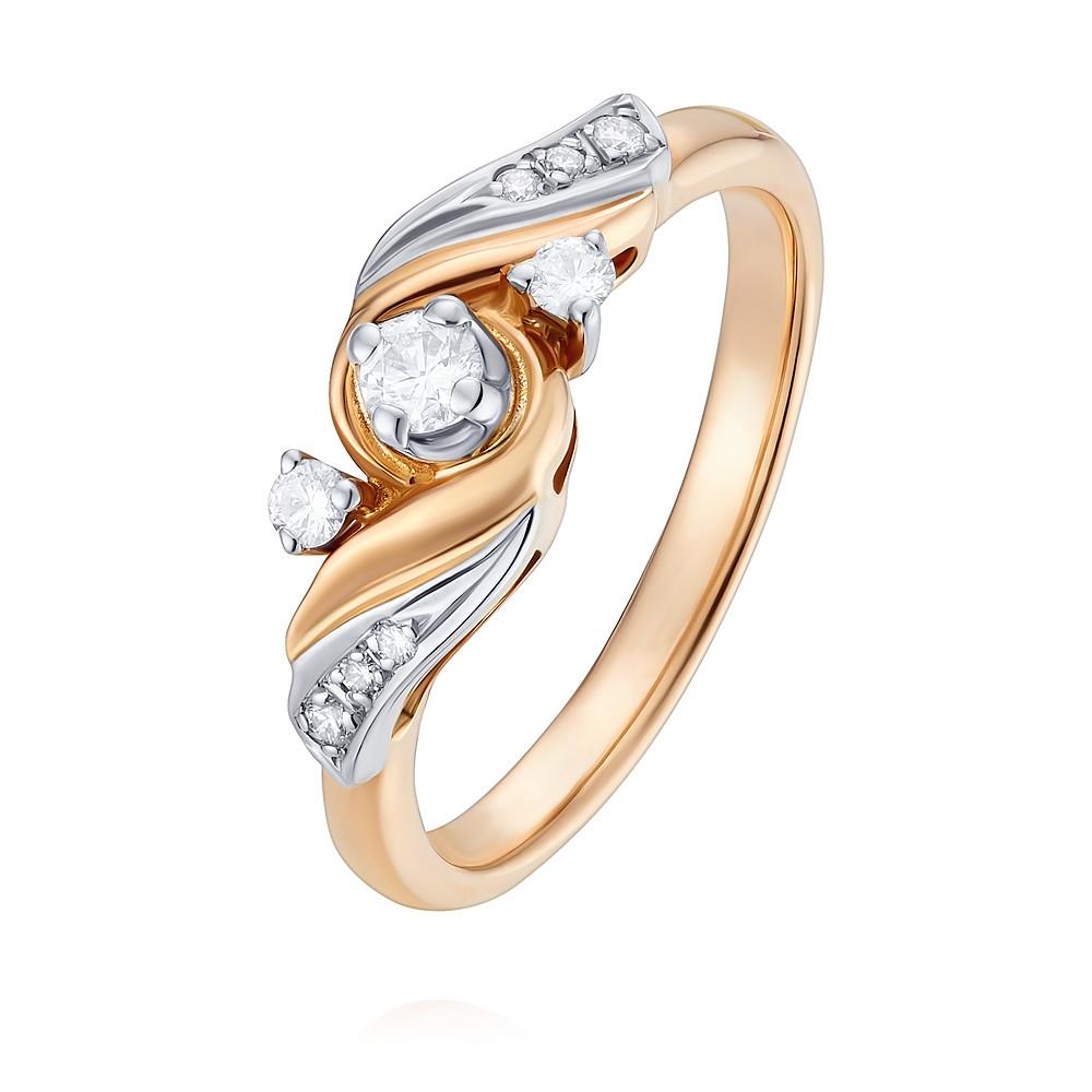 Купить Кольцо из красного золота 585 пробы с бриллиантом, Другие, Красный, Для женщин, 1401608/02-А501-41