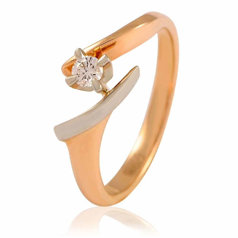 Купить Кольцо из красного золота 585 пробы с бриллиантом, Другие, Красный, Для женщин, 1401636/02-А501-41
