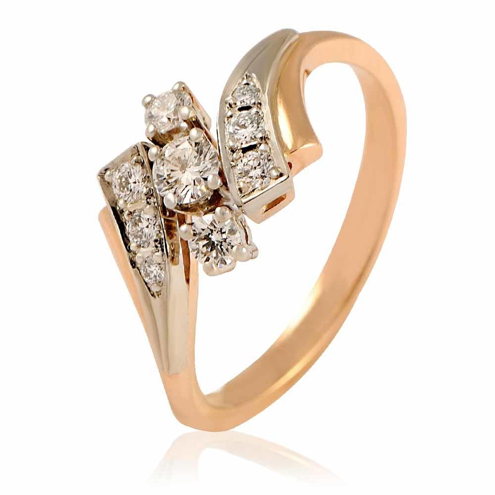 Купить Кольцо из красного золота 585 пробы с бриллиантом, Другие, Красный, Для женщин, 1401666/02-А501-41