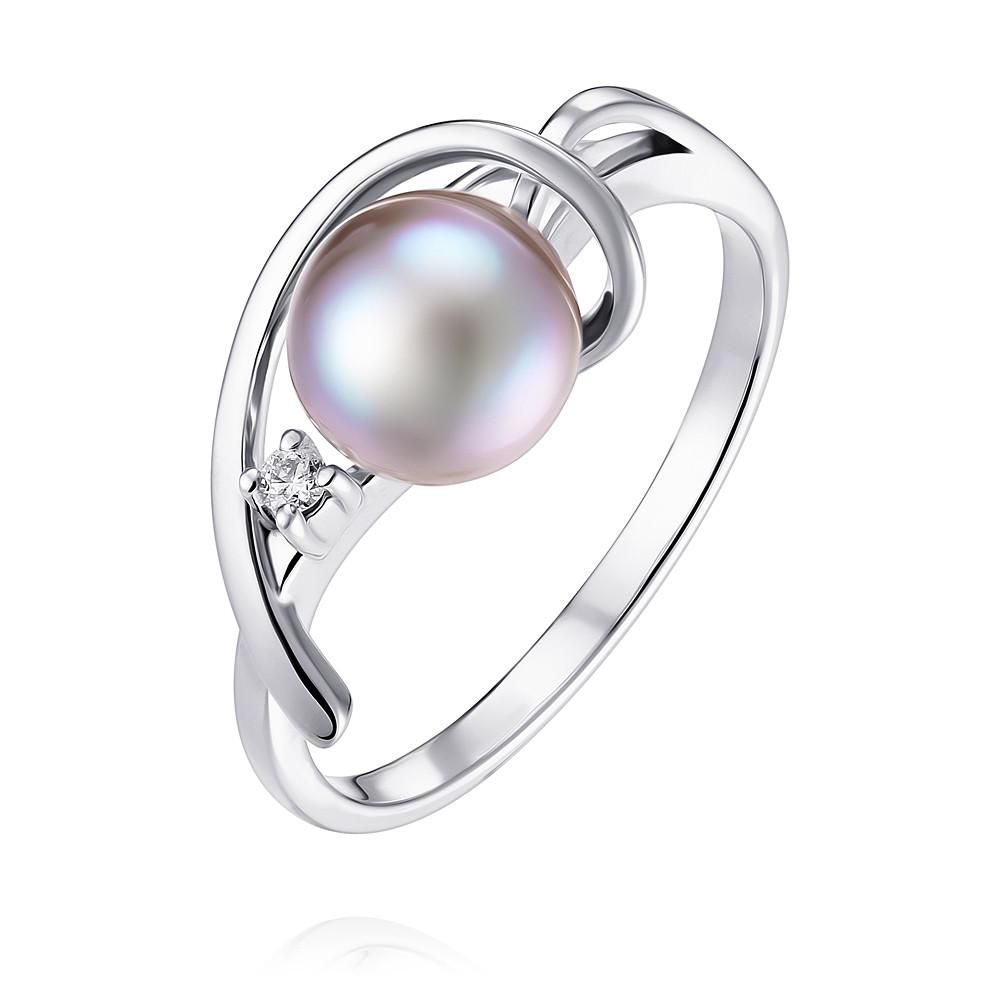 Купить Кольцо из белого золота 585 пробы с бриллиантом, жемчугом, АДАМАС, Белый, 1401748-А51Д-419