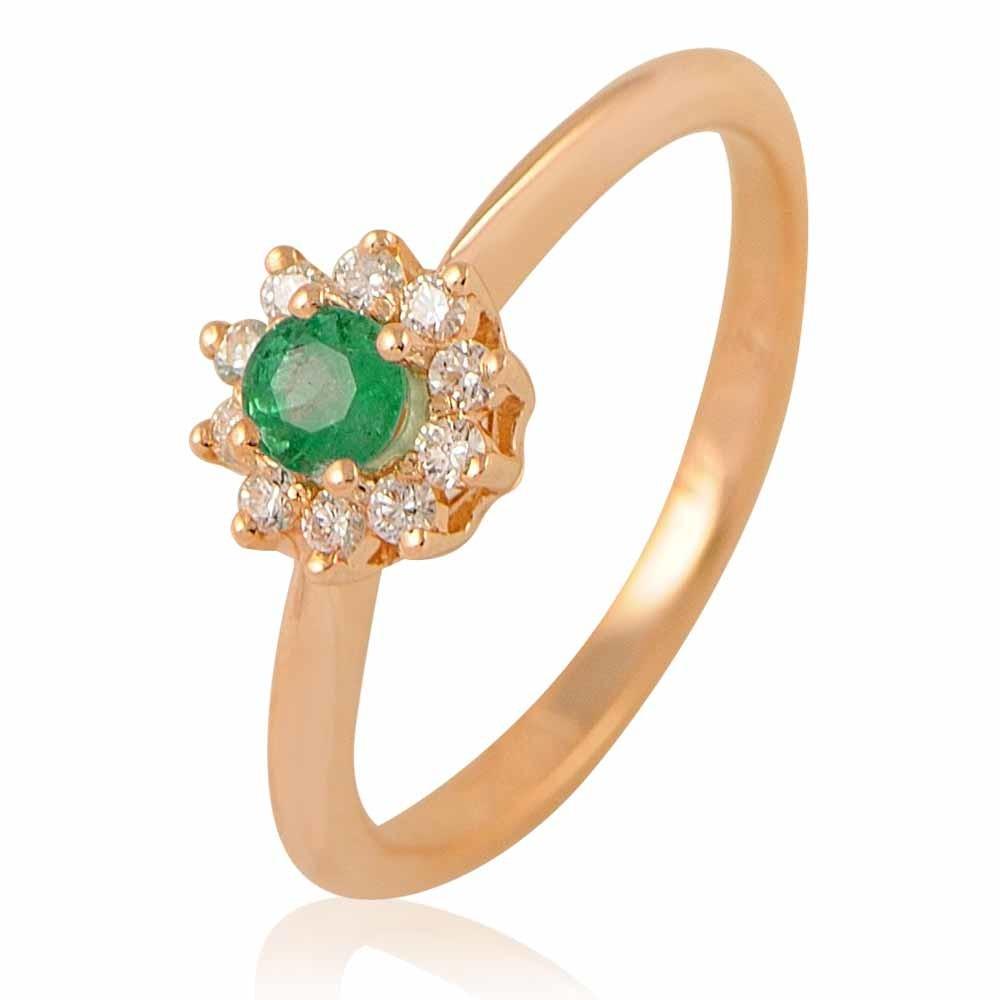 Купить Кольцо из красного золота 585 пробы с бриллиантом, изумрудом, АДАМАС, Красный, Для женщин, 1406422-А500-433