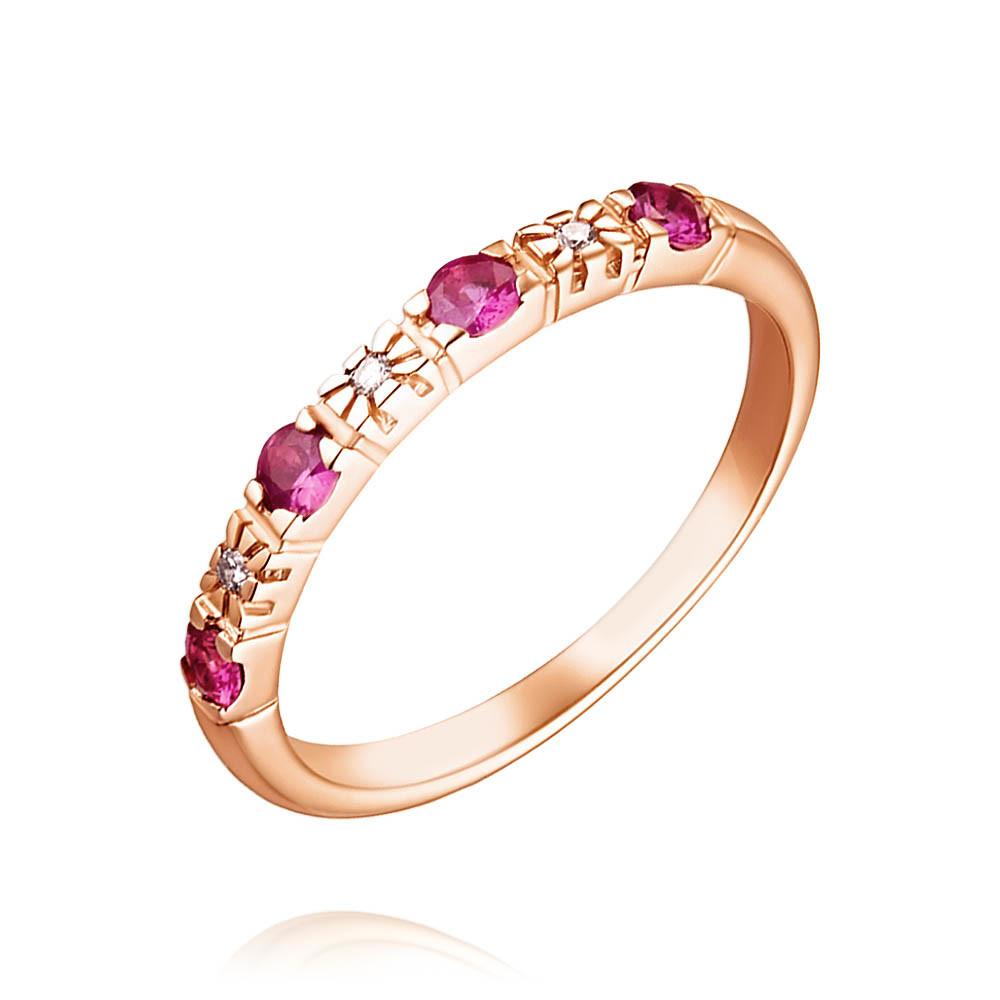 Купить Кольцо из красного золота 585 пробы с бриллиантом, рубином, АДАМАС, Красный, Для женщин, 1406433-А500-431