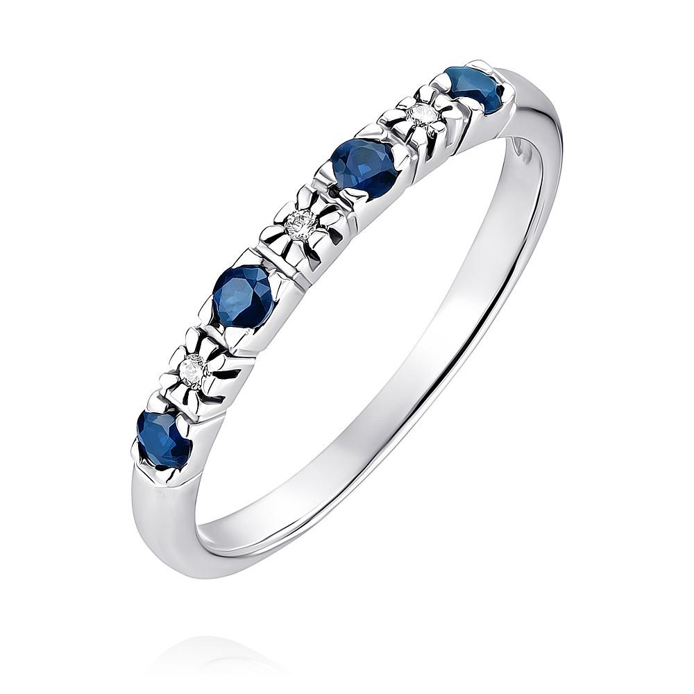 Купить Кольцо из белого золота 585 пробы с бриллиантом, сапфиром, АДАМАС, Белый, Для женщин, 1406433-А51-432