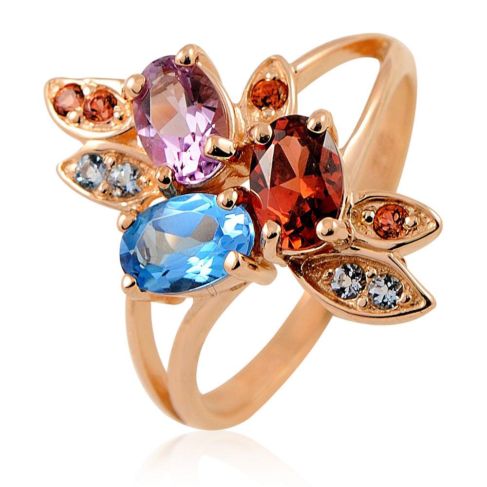 Кольцо из красного золота 585 пробы с миксом вставок, АДАМАС, Красный, Для женщин, 1406465-А500-669  - купить со скидкой
