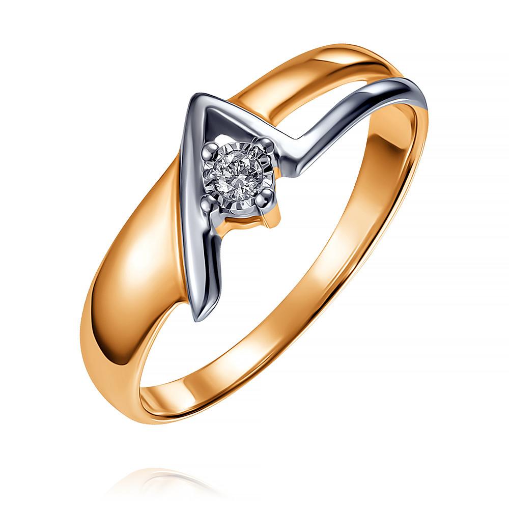 Купить Кольцо из красного золота 585 пробы с бриллиантом, Другие, Красный, Для женщин, 1408650/01-А501-41