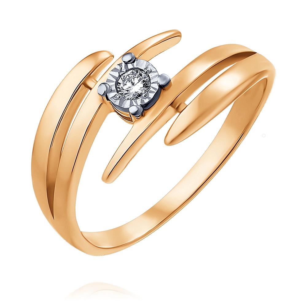 Купить Кольцо из красного золота 585 пробы с бриллиантом, Другие, Красный, Для женщин, 1408653/01-А501-41