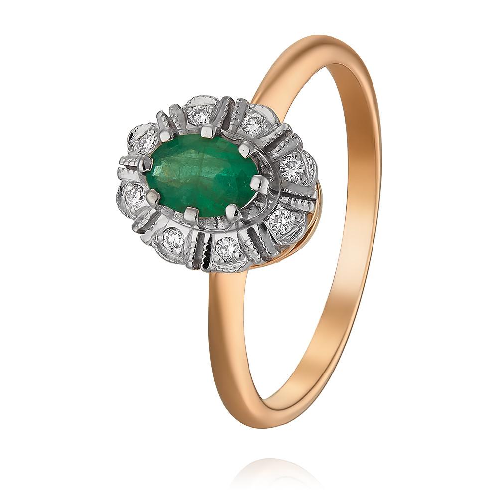 Купить Кольцо из красного золота 585 пробы с бриллиантом, изумрудом, Другие, Красный, Для женщин, 1408713/01-А501-433
