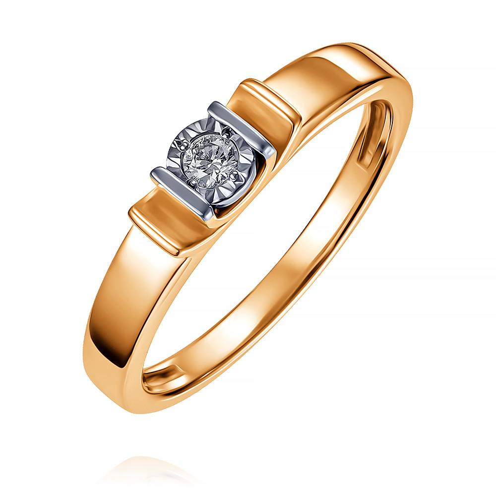Купить Кольцо из красного золота 585 пробы с бриллиантом, Другие, Красный, Для женщин, 1408803/01-А501-41