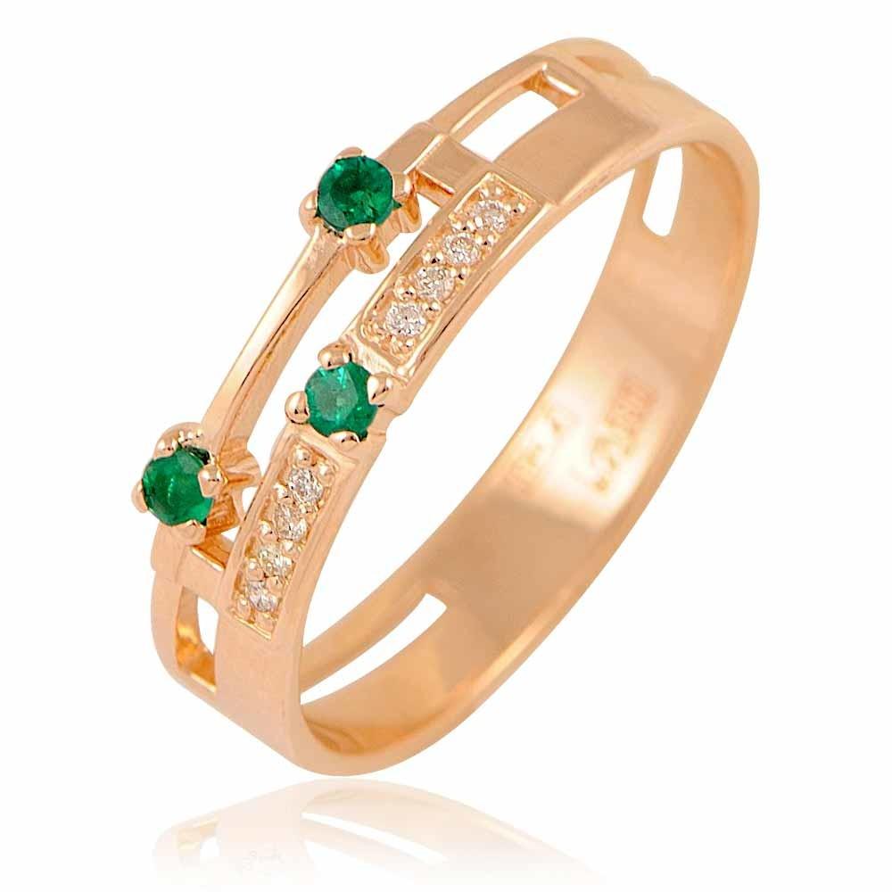 Купить со скидкой Кольцо из красного золота 585 пробы с бриллиантом, изумрудом