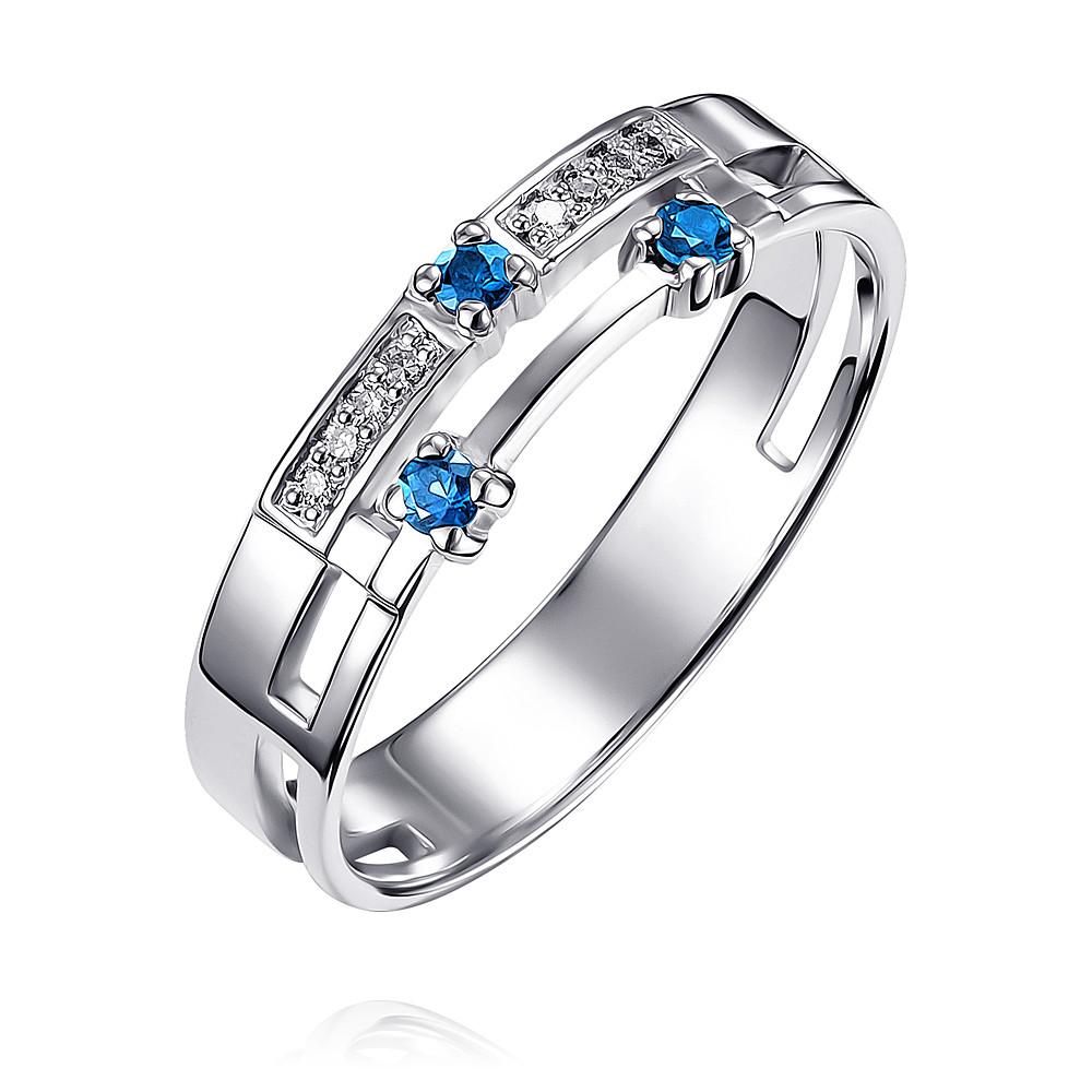 Купить Кольцо из белого золота 585 пробы с бриллиантом, сапфиром, АДАМАС, Белый, Для женщин, 1410394-А51Д-432