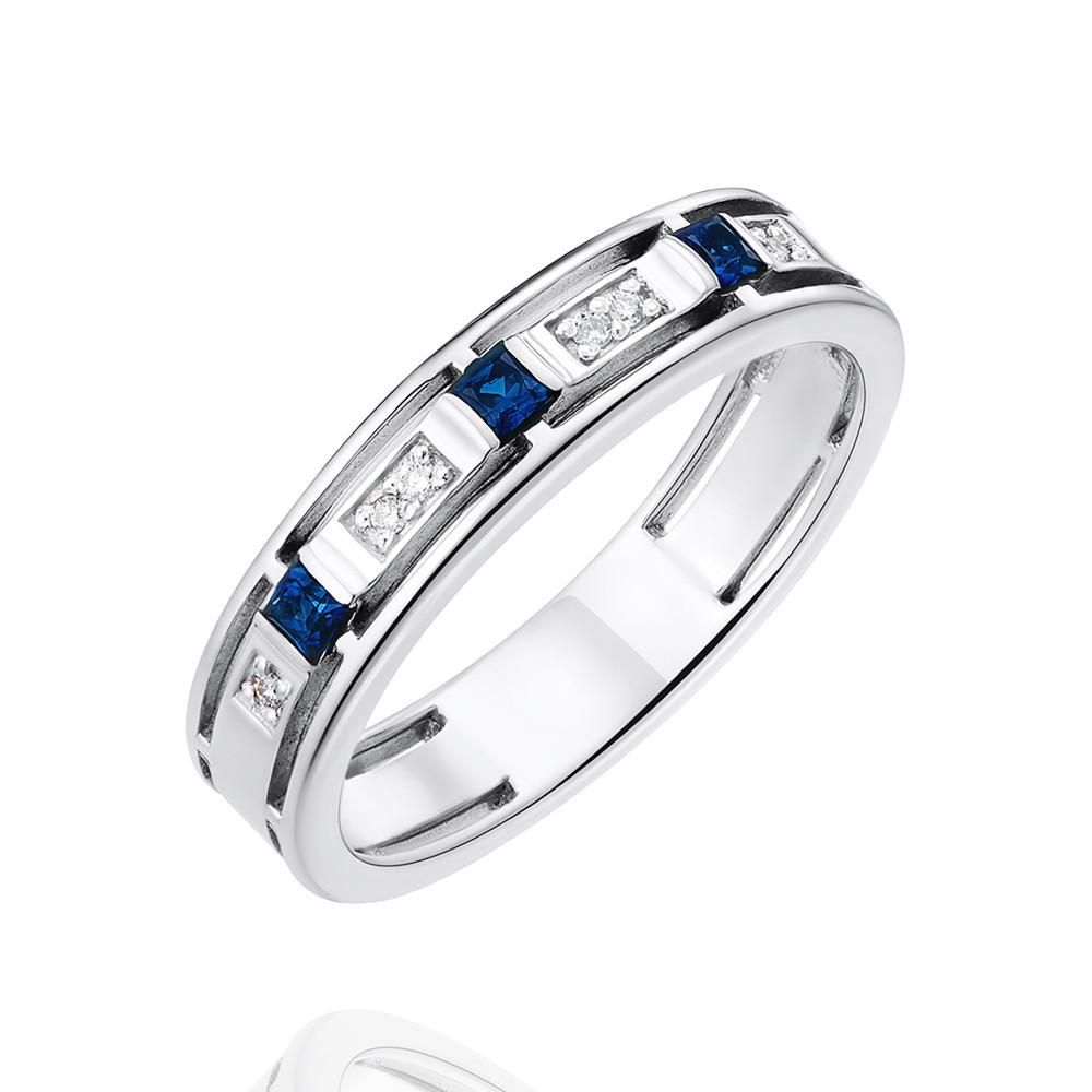Купить Кольцо из белого золота 585 пробы с бриллиантом, сапфиром, АДАМАС, Белый, 1410478-А51Д-432