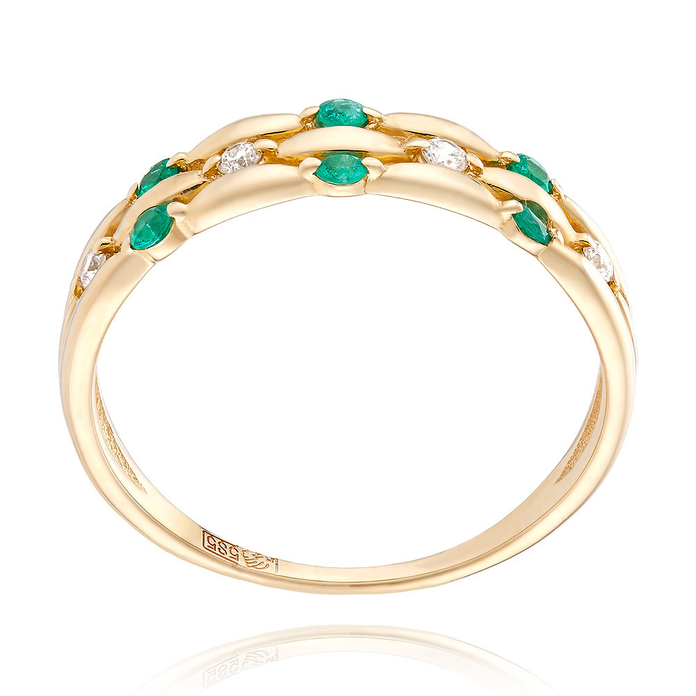 Купить Кольцо из желтого золота 585 пробы с бриллиантом, изумрудом, АДАМАС, Желтый, 1410487-А555-433