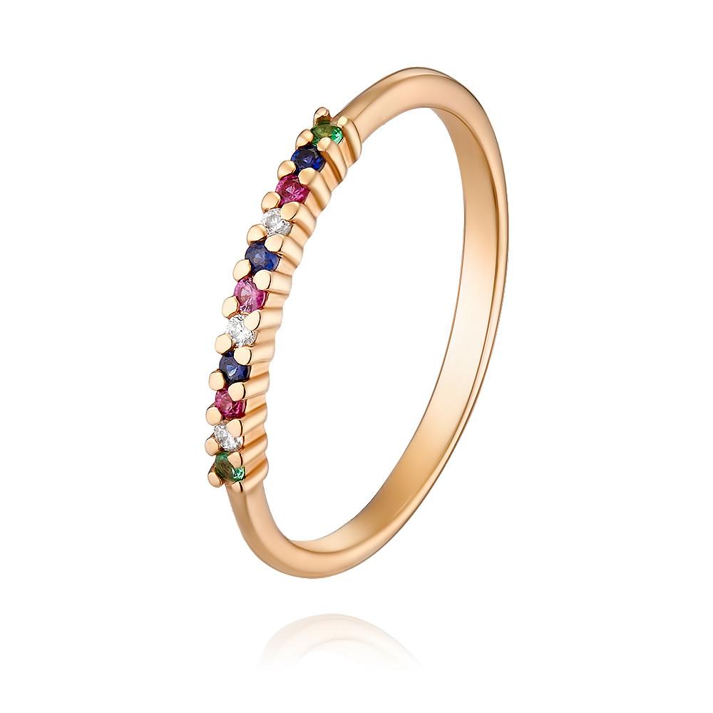 Кольцо из красного золота 585 пробы с бриллиантом, изумрудом, рубином, сапфиром, АДАМАС, Красный, 1410578-А500-430  - купить со скидкой