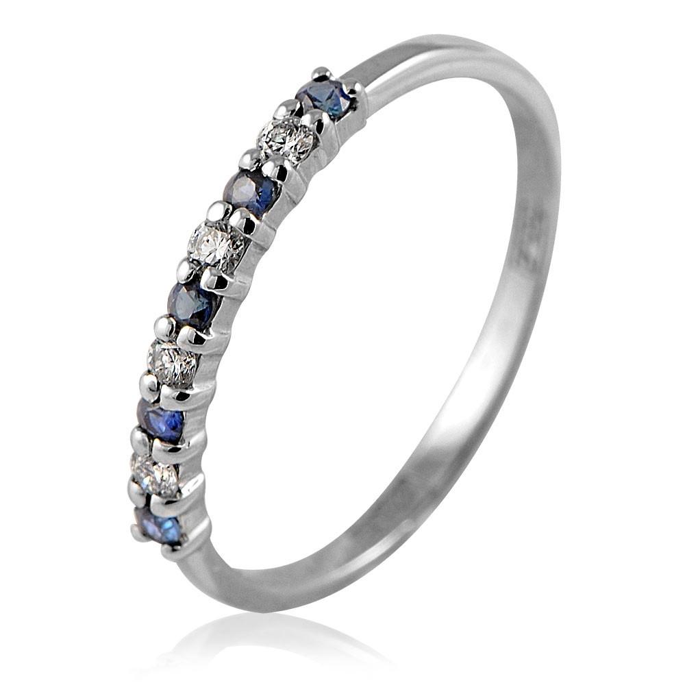 Купить Кольцо из белого золота 585 пробы с бриллиантом, сапфиром, АДАМАС, Белый, Для женщин, 1410579-А51Д-432