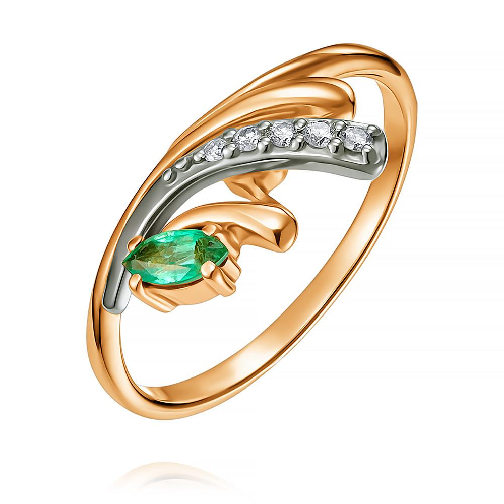Кольцо из красного золота 585 пробы с бриллиантом, изумрудомКольца<br><br><br>Вставка: Бриллиант, Изумруд<br>Вес: 2.27 г<br>Артикул: 1410596-А50-433<br>Цвет: Красный<br>Металл: Золото<br>Проба: 585<br>Пол: Для женщин
