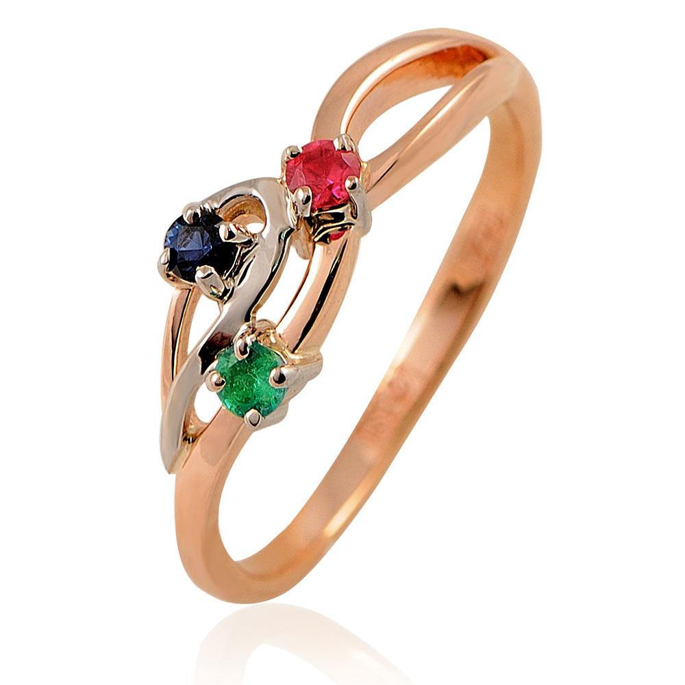 Купить Кольцо из красного золота 585 пробы с миксом вставок, АДАМАС, Красный, Для женщин, 1410876-А50-545