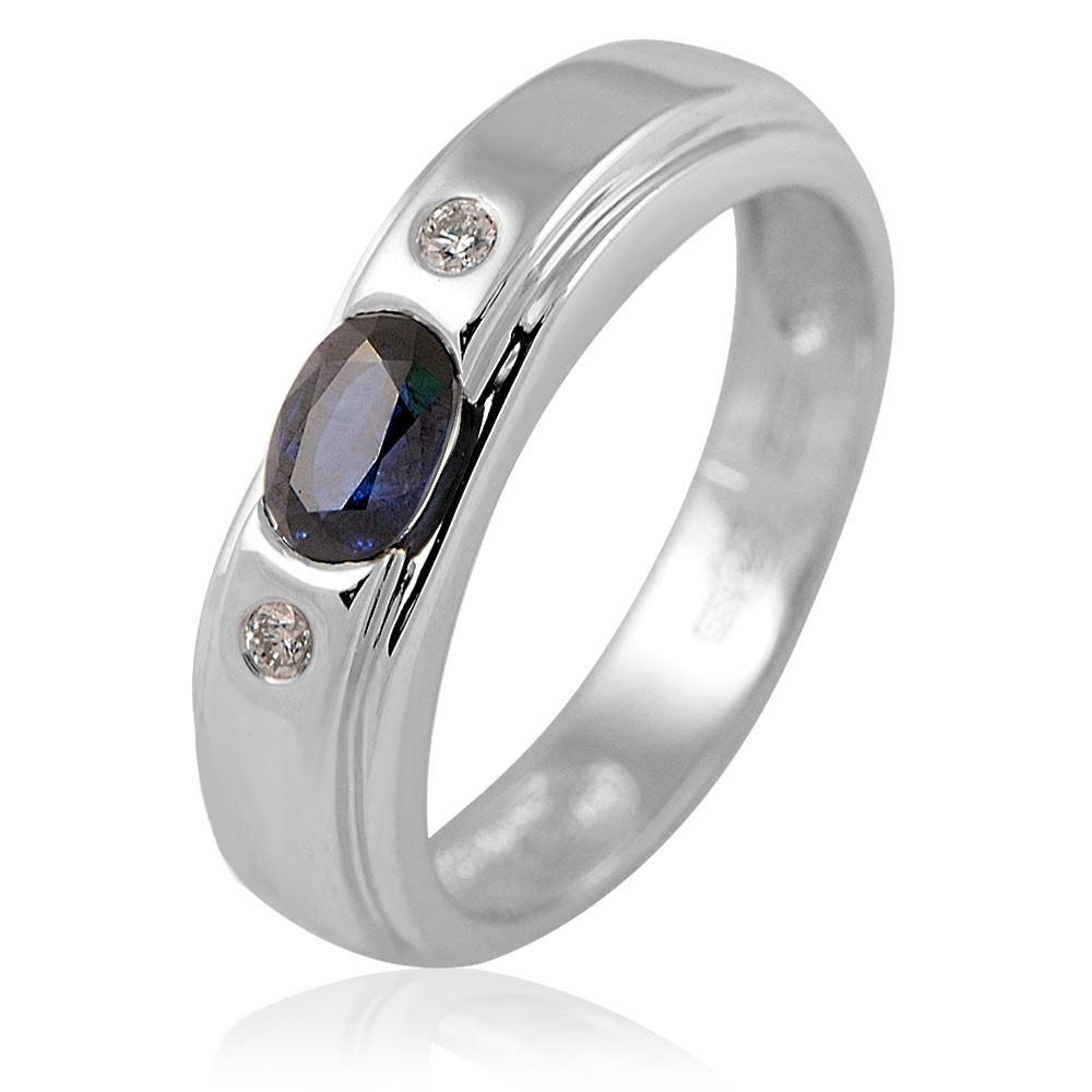 Купить Кольцо из белого золота 585 пробы с бриллиантом, сапфиром, АДАМАС, Белый, Для женщин, 1410879-А51Д-432