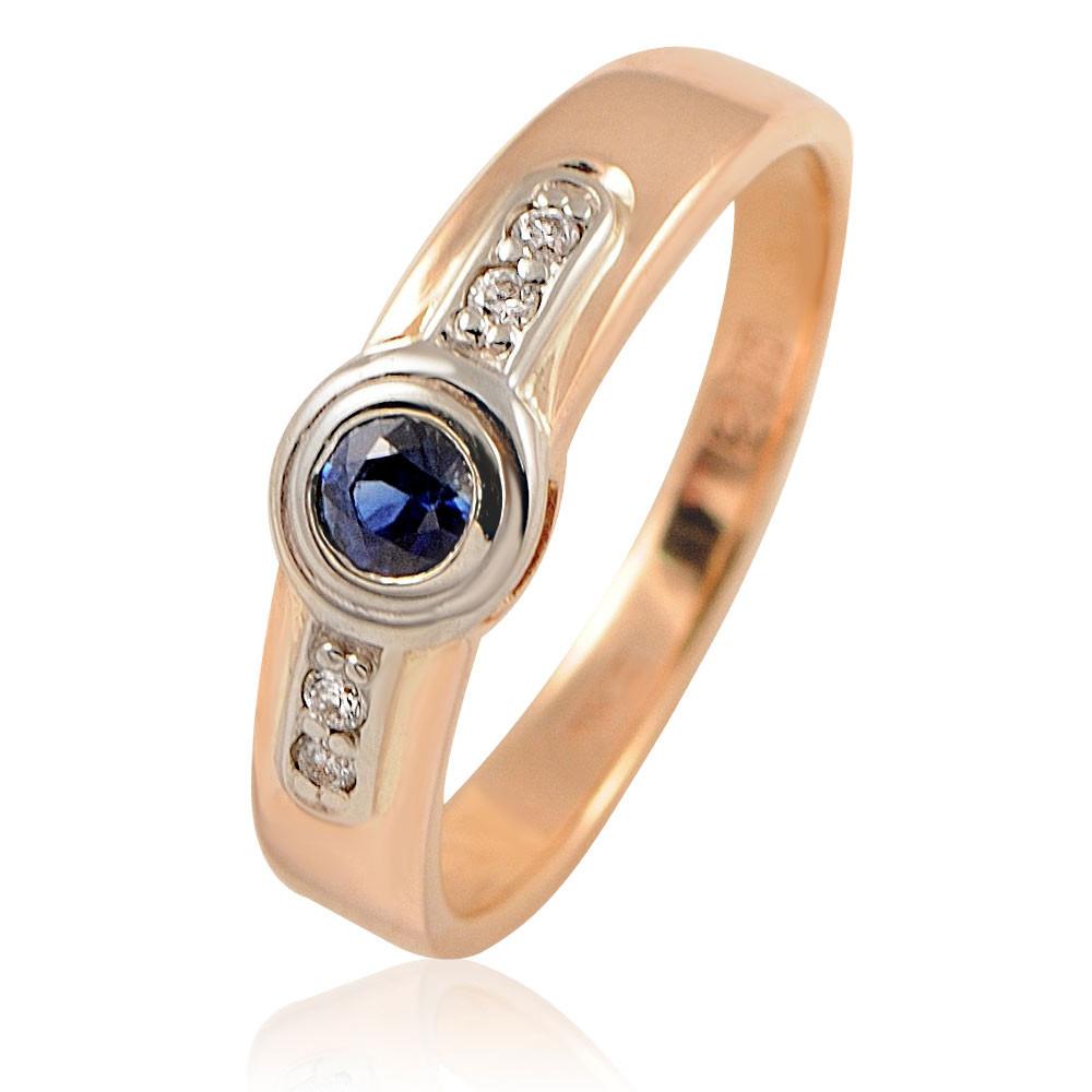 Купить Кольцо из красного золота 585 пробы с бриллиантом, сапфиром, АДАМАС, Красный, 1410882-А50-432