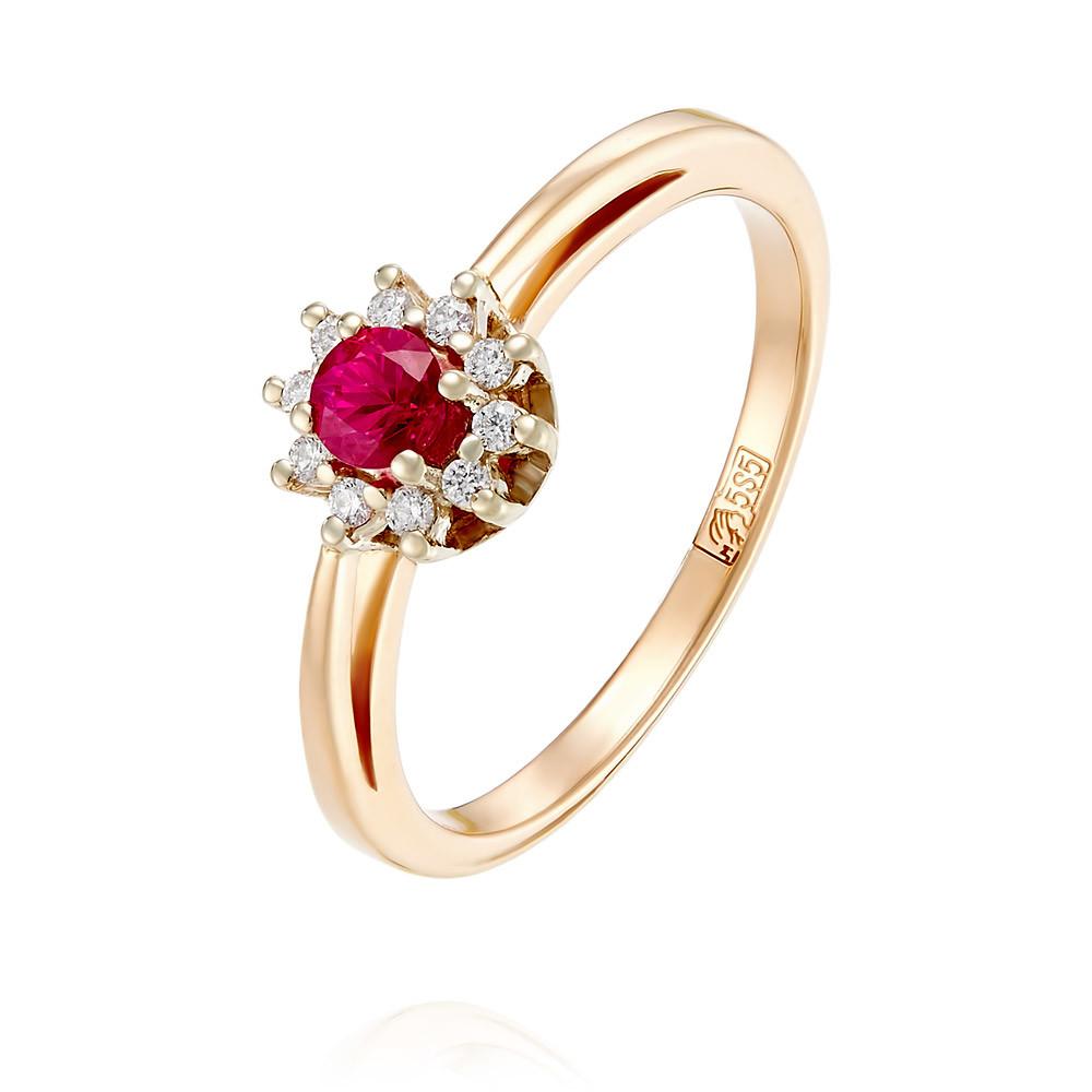 Купить Кольцо из красного золота 585 пробы с бриллиантом, рубином, АДАМАС, Красный, 1411058-А50-431