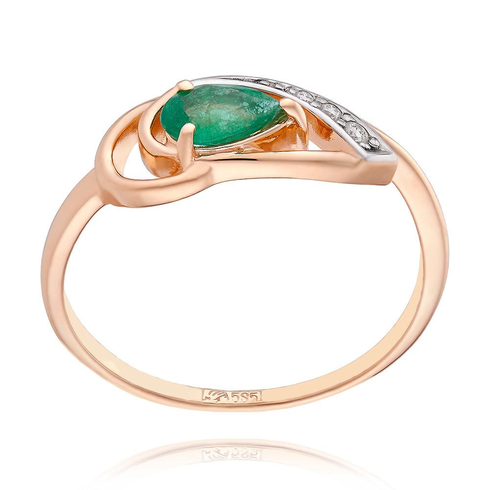 Купить Кольцо из красного золота 585 пробы с бриллиантом, изумрудом, АДАМАС, Красный, 1411107-А500Д-433