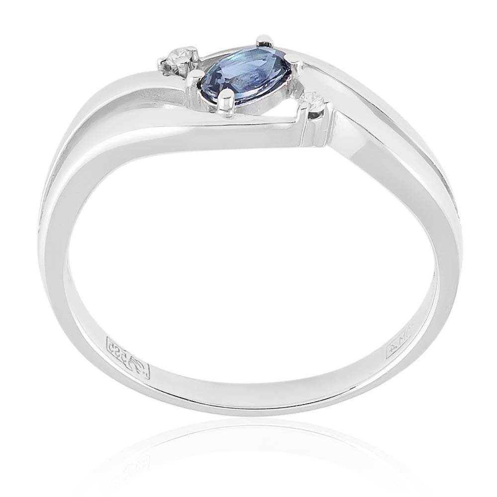 Купить Кольцо из белого золота 585 пробы с бриллиантом, сапфиром, АДАМАС, Белый, 1411141-А51Д-432