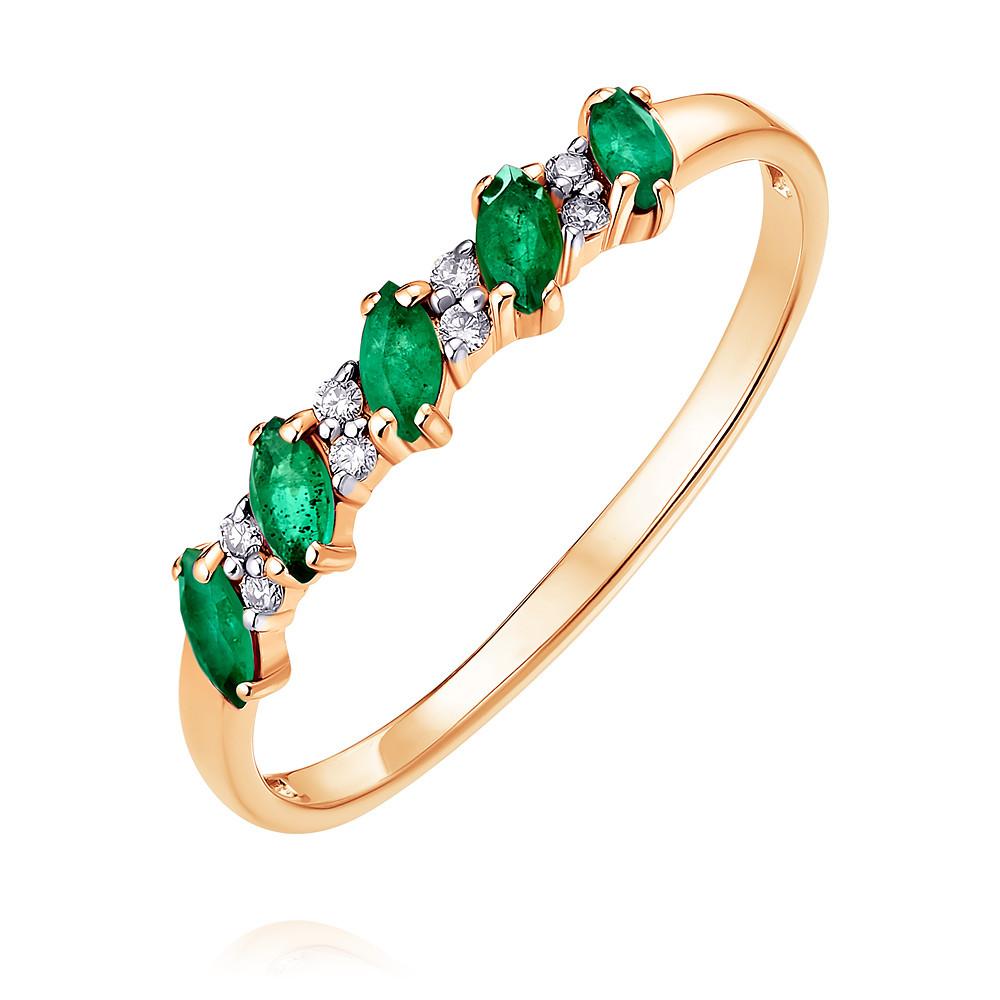 Кольцо из красного золота 585 пробы с бриллиантом и изумрудом oodji 11902163 1 32700 8800n