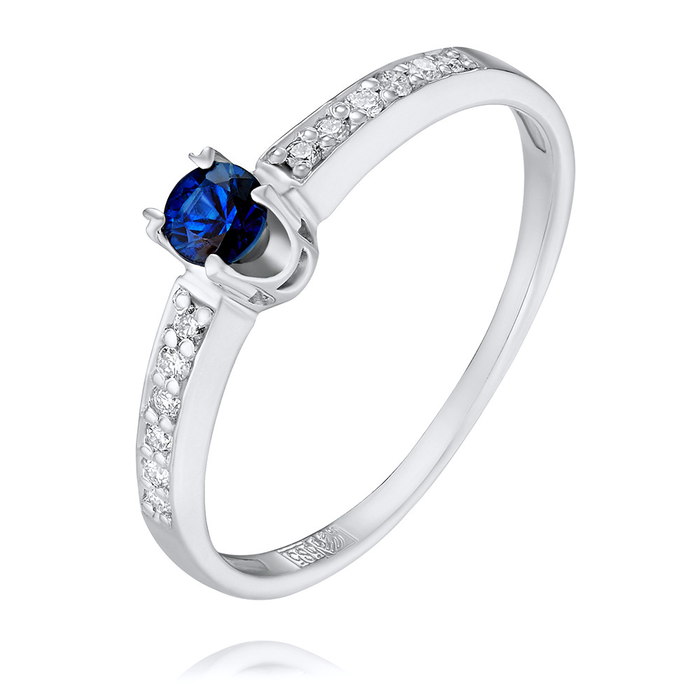 Купить Кольцо из белого золота 585 пробы с бриллиантом, сапфиром, АДАМАС, Белый, 1411375-А51Д-432