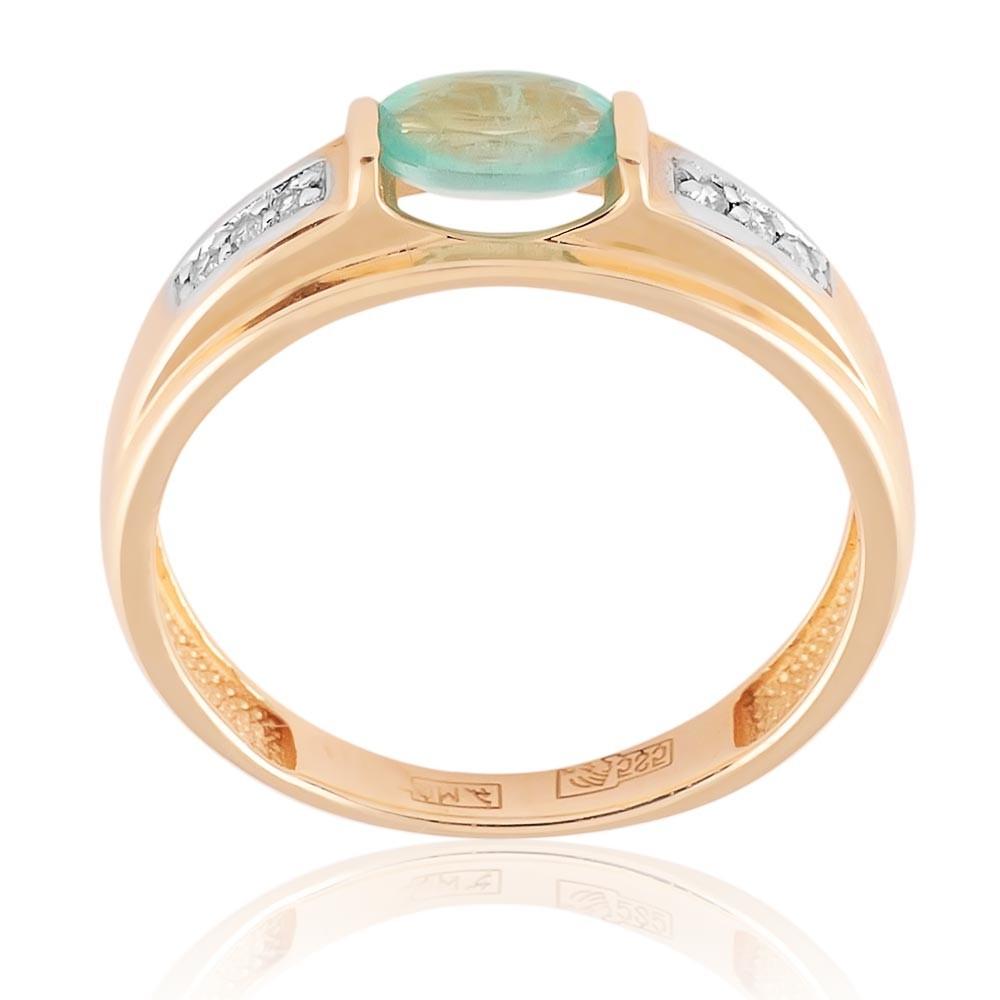 Купить Кольцо из красного золота 585 пробы с бриллиантом, изумрудом, АДАМАС, Красный, 1411410-А500Д-433