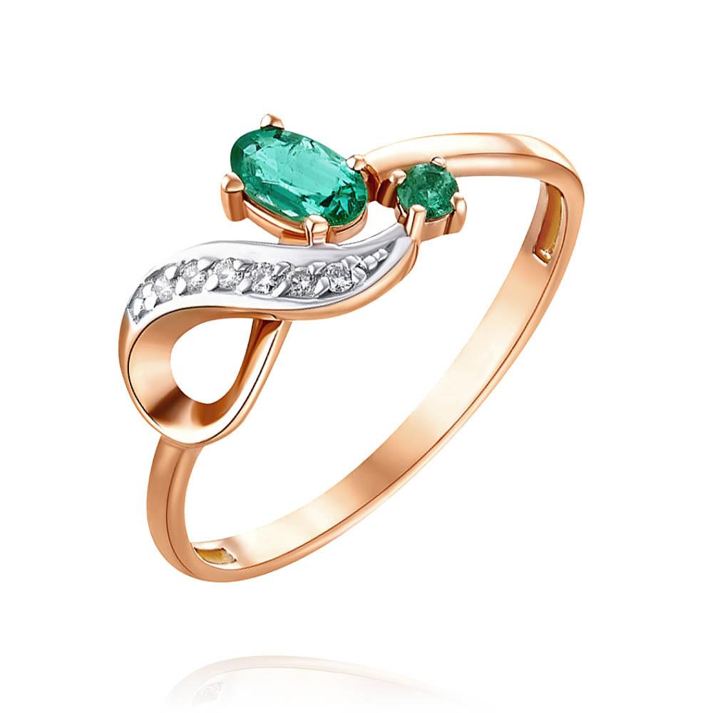Купить Кольцо из красного золота 585 пробы с бриллиантом, изумрудом, АДАМАС, Красный, 1411437-А500Д-433