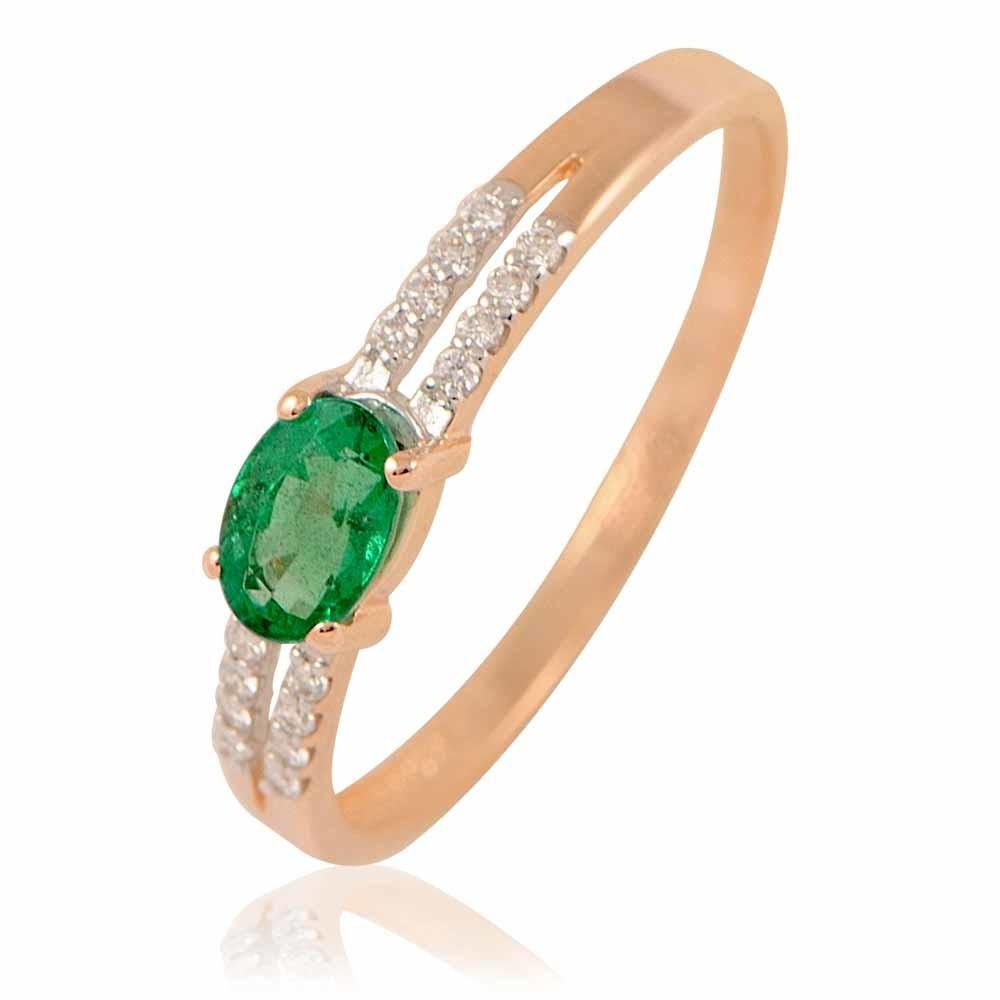 Купить Кольцо из красного золота 585 пробы с бриллиантом, изумрудом, АДАМАС, Красный, 1411439-А500Д-433