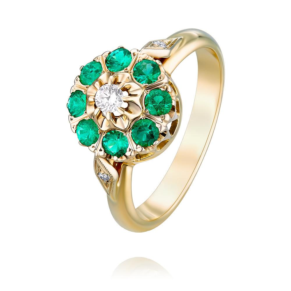 Купить Кольцо из желтого золота 585 пробы с бриллиантом, изумрудом, Другие, Желтый, Для женщин, 1411468/01-А551-433