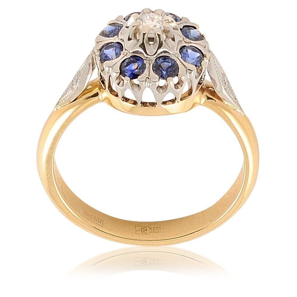 Купить Кольцо из желтого золота 585 пробы с бриллиантом, сапфиром, Другие, Желтый, Для женщин, 1411468/02-А551-432