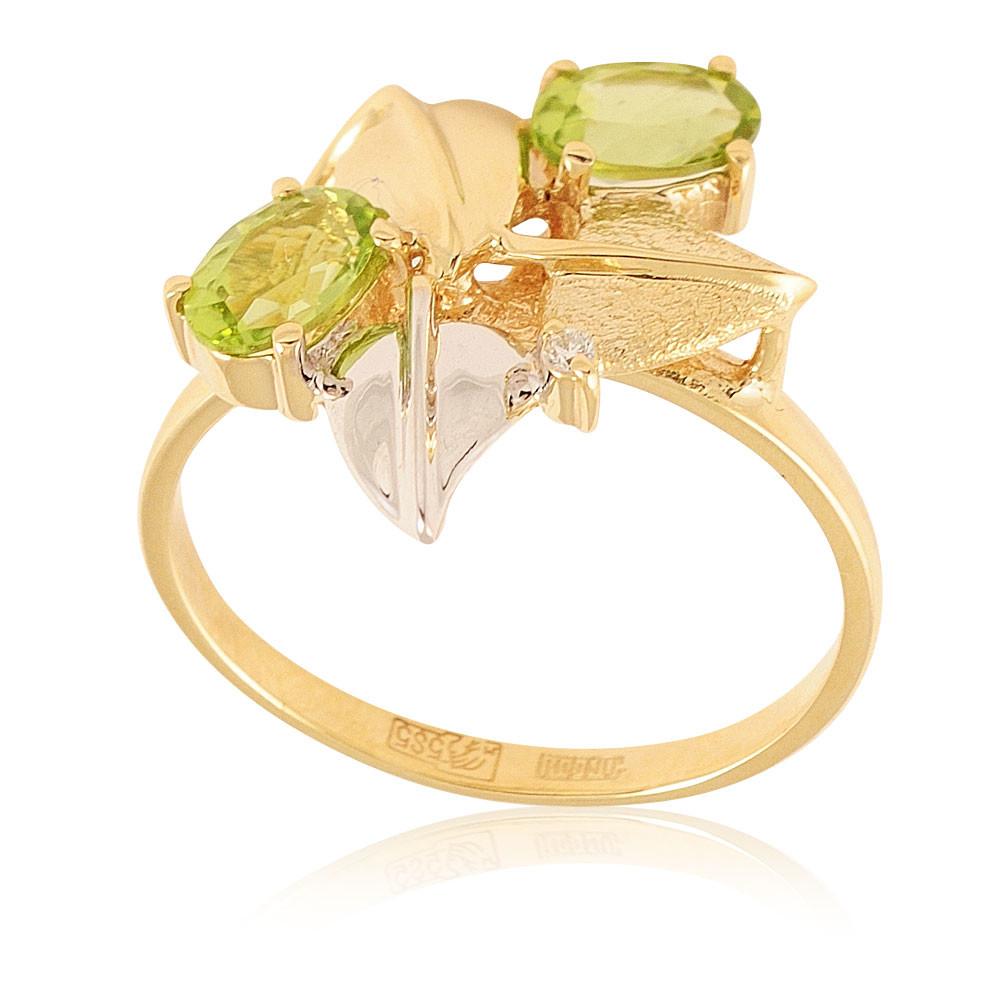 Купить со скидкой Кольцо из желтого золота 585 пробы с бриллиантом, хризолитом