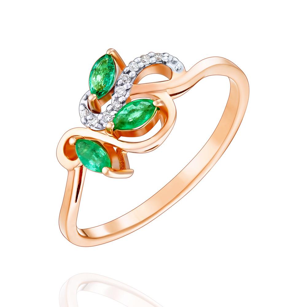 Купить Кольцо из красного золота 585 пробы с бриллиантом, изумрудом, АДАМАС, Красный, 1411640-А500Д-433