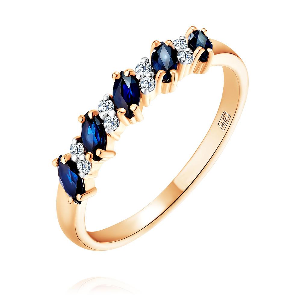 Кольцо из красного золота 585 пробы с бриллиантом, сапфиромКольца<br><br><br>Вставка: Бриллиант, Сапфир<br>Вес: 1.8 г<br>Артикул: 1413158/01-А50-432<br>Цвет: Красный<br>Металл: Золото<br>Проба: 585<br>Пол: Для женщин