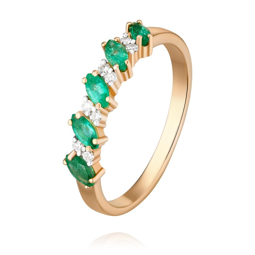 Купить Кольцо из красного золота 585 пробы с бриллиантом, изумрудом, SOKOLOV, Красный, Для женщин, 1416078/01-А50-433