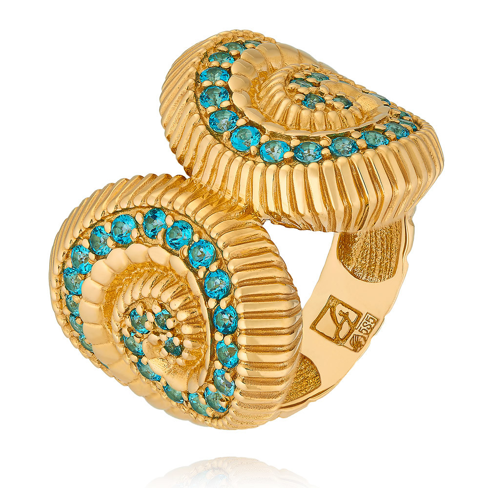 Купить со скидкой Кольцо из желтого золота 585 пробы с топазом